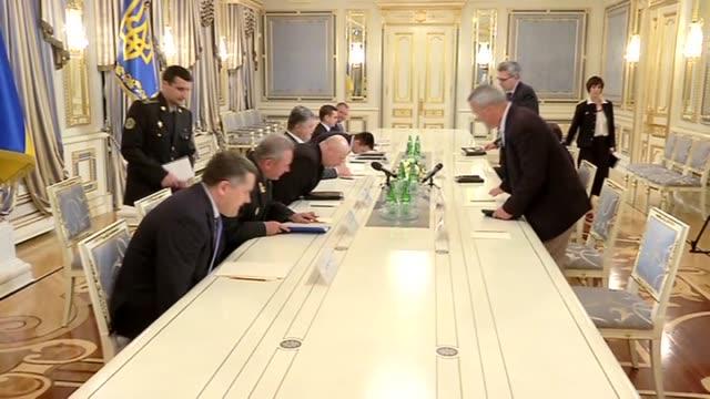 Ukrainian President Petro Poroshenko meets US General Philip Breedlove NATO's supreme allied commander in Kiev Ukraine on July 23 2015 Footage by...