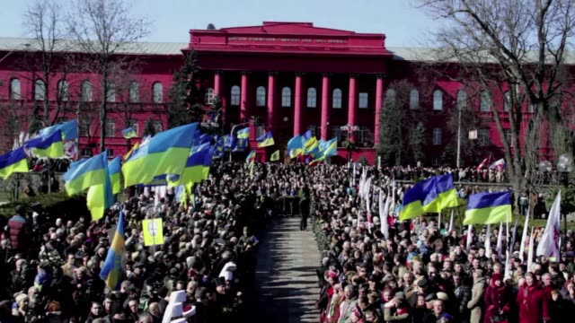 Ukrainian Prime Minister Arseniy Yatsenyuk on Sunday vowed Ukraine would not give an inch of its territory to Russia at a rally of thousands of...