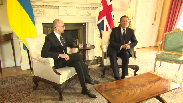 Ukrainian Prime Minister Arseniy Yatsenyuk visits 10 Downing Street ENGLAND London Downing Street EXT Arseniy Yatsenyuk along and shakes hands with...