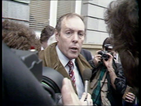 Enniskillen IRA bomb NORTHERN IRELAND Ulster Enniskillen Town Hall SPEAKING TO PRESS SOF surrounded by Press 'We are fed up answer your questions'...