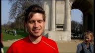777 Ultra marathon runners complete gruelling global run ENGLAND London Jack Jones and Chris Cuddihy crossing finish line Jack Jones interview SOT...
