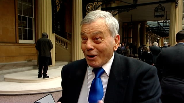 London Buckingham Palace Dickie Bird OBE interview SOT on feeling emotional receiving award CUTAWAY Close shot OBE