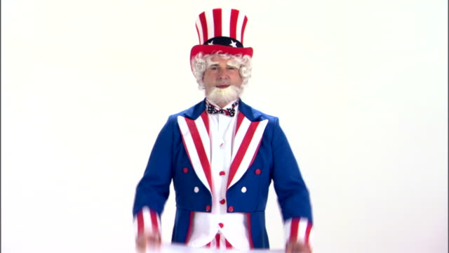 Uncle Sam holding sale sign