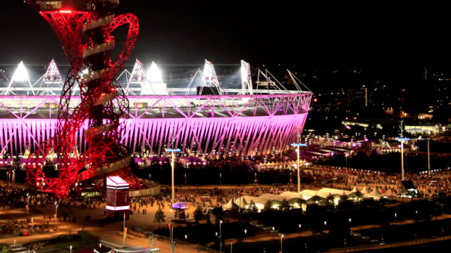 Under the colour changing London 2012 Paralympic Stadium crowds head for home after an exciting evening of Athletics leaving the park emptyThe...