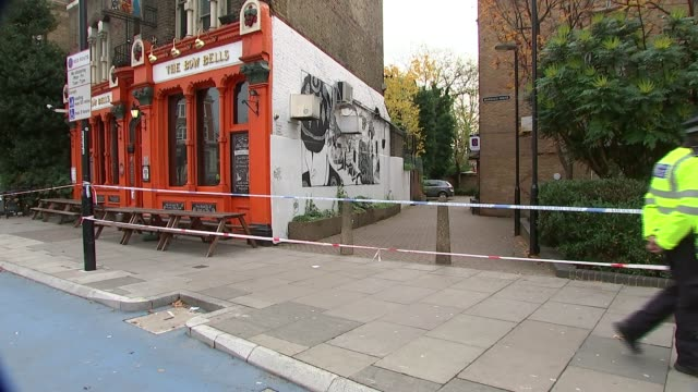 Undercover police officer stabbed by teenagers Wilson interview SOT Police officer on guard outside pub with police tape around Reporter to camera...