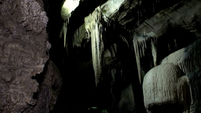 Underground Cave / Cavern with stalactites, close up - DOLLY HD