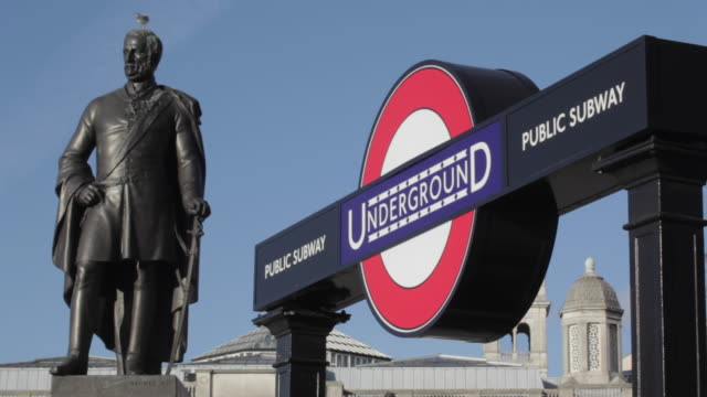 Underground Sign and Statue, Trafalgar Square, Westminster, London, England, UK