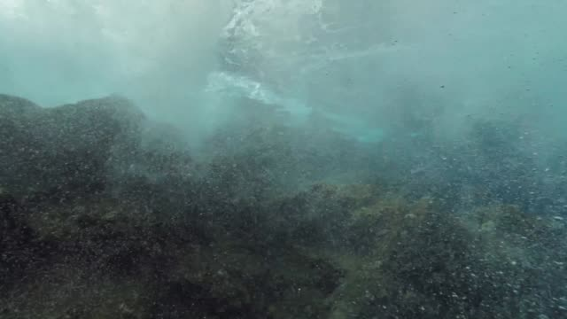 underwater backwash and bubble of surface waves