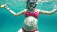 Underwater pregnant woman