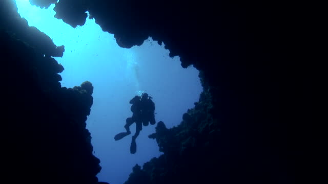 W/S underwater, technical diver entering in a cave