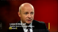 INT Liam Byrne MP interview SOT What today's figures show is that you've got hard working Britain battling through a double dip recession inflicted...