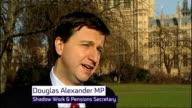 Unemployment rises to 25 million Westminster EXT Douglas Alexander MP interview SOT