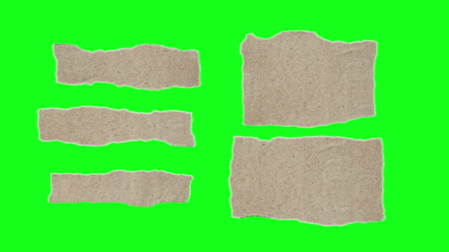 Unfolding Brown Paper Pieces on Chroma Key Green Screen