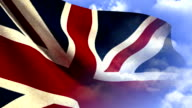 Union Jack Flag on Cloudy Blue Sky