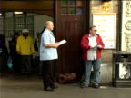 RMT Union members protest at East London Line extension plans ENGLAND London Whitechapel Station EXT RMT union members protesting outside station...