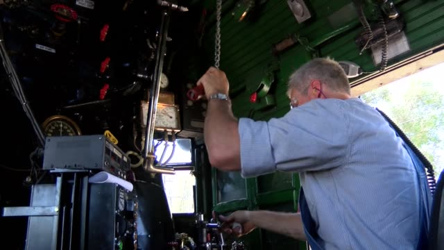 Union Pacific steam locomotive from inside the 450ton marvel of the 1940s with engineer Ed Dickens and the fireman at the controls on the way from...