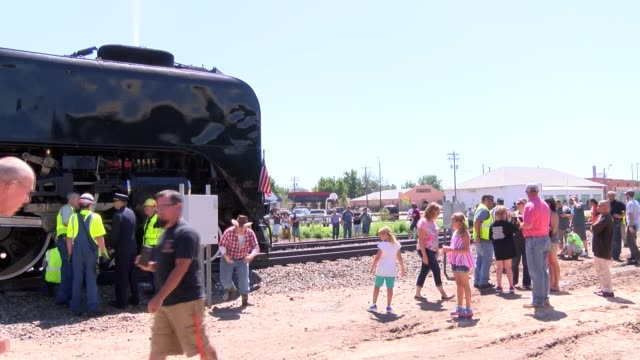 Union Pacific steam locomotive No 844 stops in Greeley for viewing by train enthusiasts and also gets a little maintenance on the trip from Cheyenne...