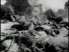 REENACTMENT Union soldiers surveying battle damage / United States