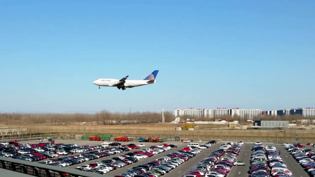 United Airlines plane lands at Beijing International Airport