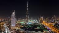 United Arab Emirates, Dubai, elevated Time lapse looking over the Burj Khalifa, the Dubai Mall, hotels and apartments