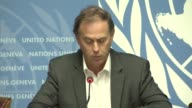 United Nations High Commissioner for Human Rights Zeid Ra'ad Al Hussein speaks during a press conference in Geneva Switzerland on October 4 2016...