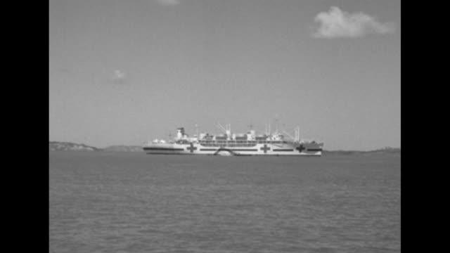 United Nations hospital ship anchored off coast