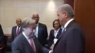 United Nations Secretary General Antonia Guterres meets with Prime Minister of Algeria Abdulmalik Sellal President of South Sudan Salva Kiir Mayardit...