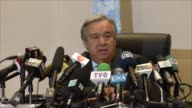 United Nations SecretaryGeneral Antonio Guterres speaks at a press conference during the 28th African Union Summit at the AU Headquarters in Addis...