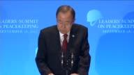 United Nations SecretaryGeneral Ban Kimoon speaks during the Leaders' Summit on Peacekeeping within the 70th session of the United Nations General...
