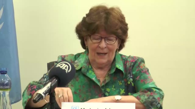 United Nations SecretaryGeneral's Special Representative for International Migration Louise Arbour delivers a speech at a press briefing after...