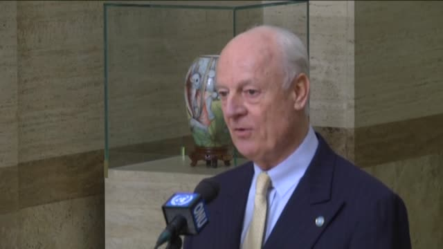 United Nations Special Envoy for Syria Staffan de Mistura speaks at a press conference after a meeting with the members of the opposition High...
