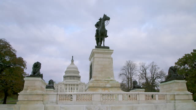 United States Capitol West Grant Statue in Washington, DC - 4k/UHD