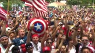 United States Fans Cheer at World Cup Game Viewing Party