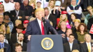 United States President Donald Trump speaks to 15000 of his supporters about rounding up illegal aliens and immigrants with criminal records and...