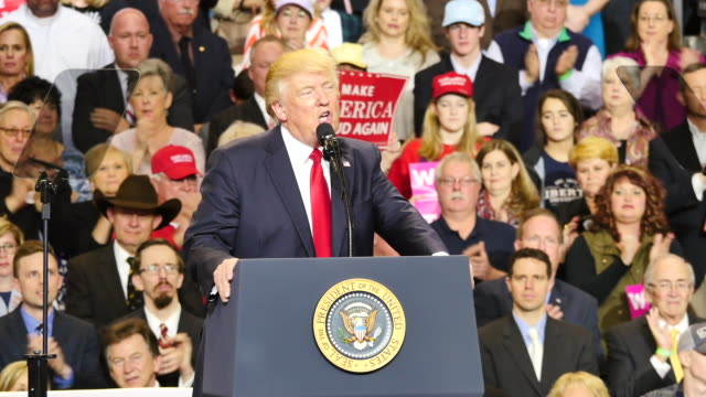 United States President Donald Trump speaks to 15000 of his supporters about repealing and replacing Obamacare during a massive campaign rally style...