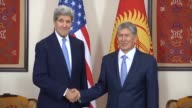 United States Secretary of State John Kerry and President of Kyrgyzstan Almazbek Atambayev meets at Bishkek Kyrgyzstan on October 31 2015 within...