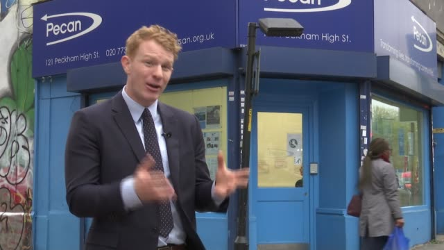 Government may reduce waiting time to four weeks as pressure grows Peckham Reporter to camera Chris Pike showing reporter around inside food bank SOT...