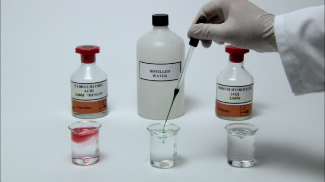 Universal indicator solution demonstration, showing colour changes. Universal indicator turns red in acids, purple in alkalis, and green-yellow in neutral water