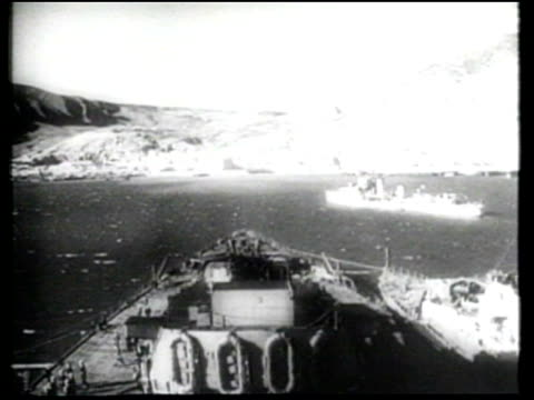 Allied ships and troops resist Luftwaffe bombing and Axis shelling as they fight and defeat the Afrika Korps in North Africa