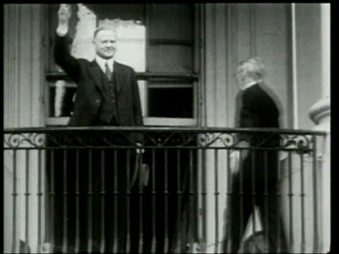 President Herbert Hoover waves to children at the annual Easter egg roll on the White House lawn