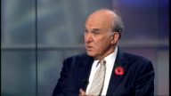 University tuition fees to treble ENGLAND London GIR INT Vince Cable MP STUDIO interview SOT I'd love to be Father Christmas I'd love to be able to...