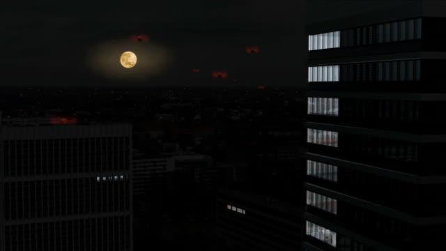 Automatico veicoli aerea vola nella notte