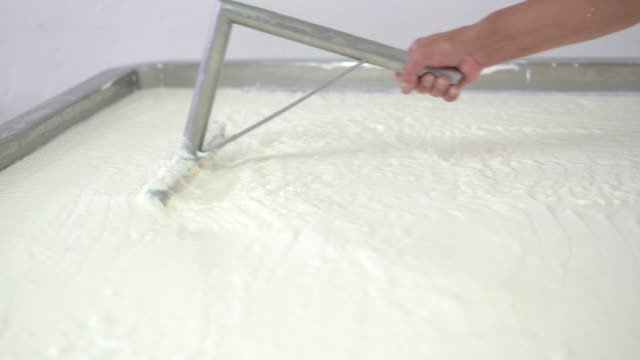 Unrecognizable person mixing the products to make cheese