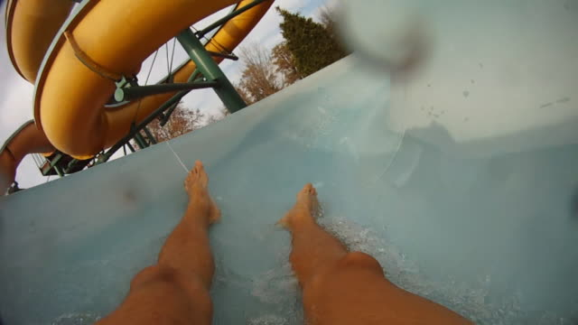 HD SLOW MOTION: Unrecognizable Person Sliding Down On A Waterslide