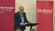 Unrest continues / Jeremy Corbyn condemns violence ENGLAND West Sussex Crawley INT Jeremy Corbyn MP along to podium