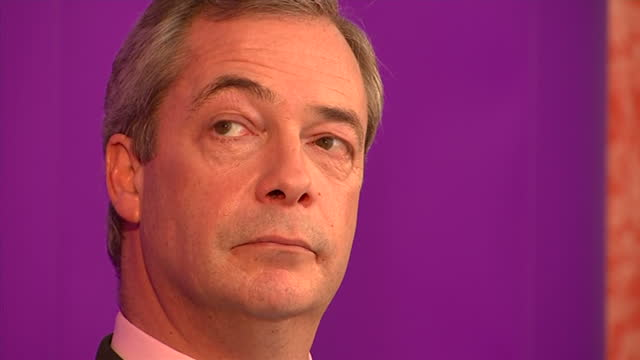 Unveil Health Policy In Campaign Speech Interior close up shots Nigel Farage UKIP leader at event unveiling UKIP's Health Policy Close ups Nigel...
