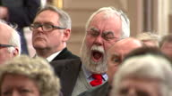Unveil Health Policy In Campaign Speech Interior shot man in audience yawning falling asleep at unveiling of UKIP's Health Policy Interior shots of...
