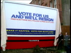 SNP unveils new campaign poster SCOTLAND Poster 'Vote for us and We'll Resign' being unveiled MS Jim Sillars MP Andrew Welsh MP and SNP official...