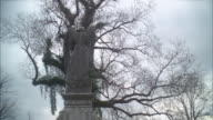 up angle of angel statue. could be in graveyard or cemetery. bare branches on trees. overcast.