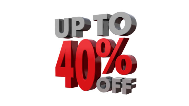 Up to 40% off.